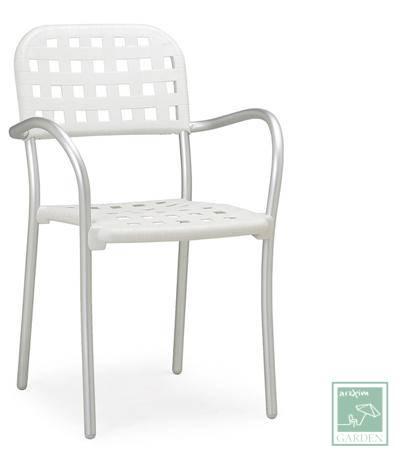 Polypropylene armchair with aluminum legs Aurora