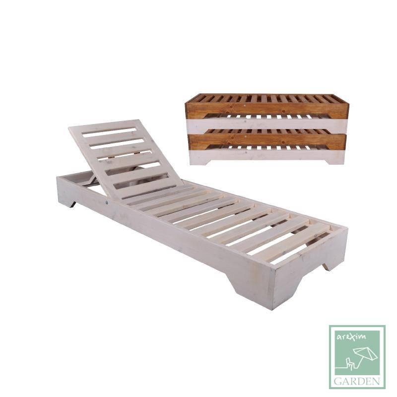 Wooden sunlounger WE225